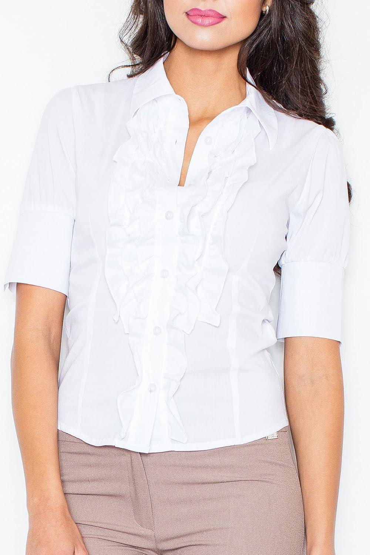 Figl Camisa de manga corta para mujer, con chorrera de volantes, Tamaño 40, Blanco: Amazon.es: Ropa y accesorios
