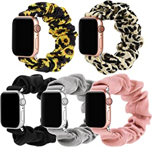 Bigqin 5 Packs Scrunchie Band Compatible with Apple Watch 40mm and 38mm, Soft Fabric Pattern Printed Strap Replacement for iWatch Series 6 SE 5 4 3 2 1, Black Pink Grey Leopard Sunflower(S)