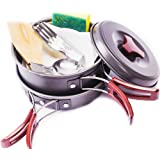 Camping Cookware Mess Kit Outdoors Bug Out Bag & Backpacking Gear Hiking Cookset , Cooking Equipment - Compact, Lightweight Hard Anodized Pot & Pan, Bowls, Folding Spork, Fork, Nylon Bag, 11 Piece