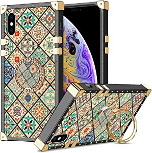 WOLLONY for iPhone Xs MAX Case with Kickstand Ring Square Edge for Women Girl Retro Flower Soft Protective Heavy Duty Case Metal Reinforced Corners Shockproof Cover for iPhone Xs MAX 6.5inch Square