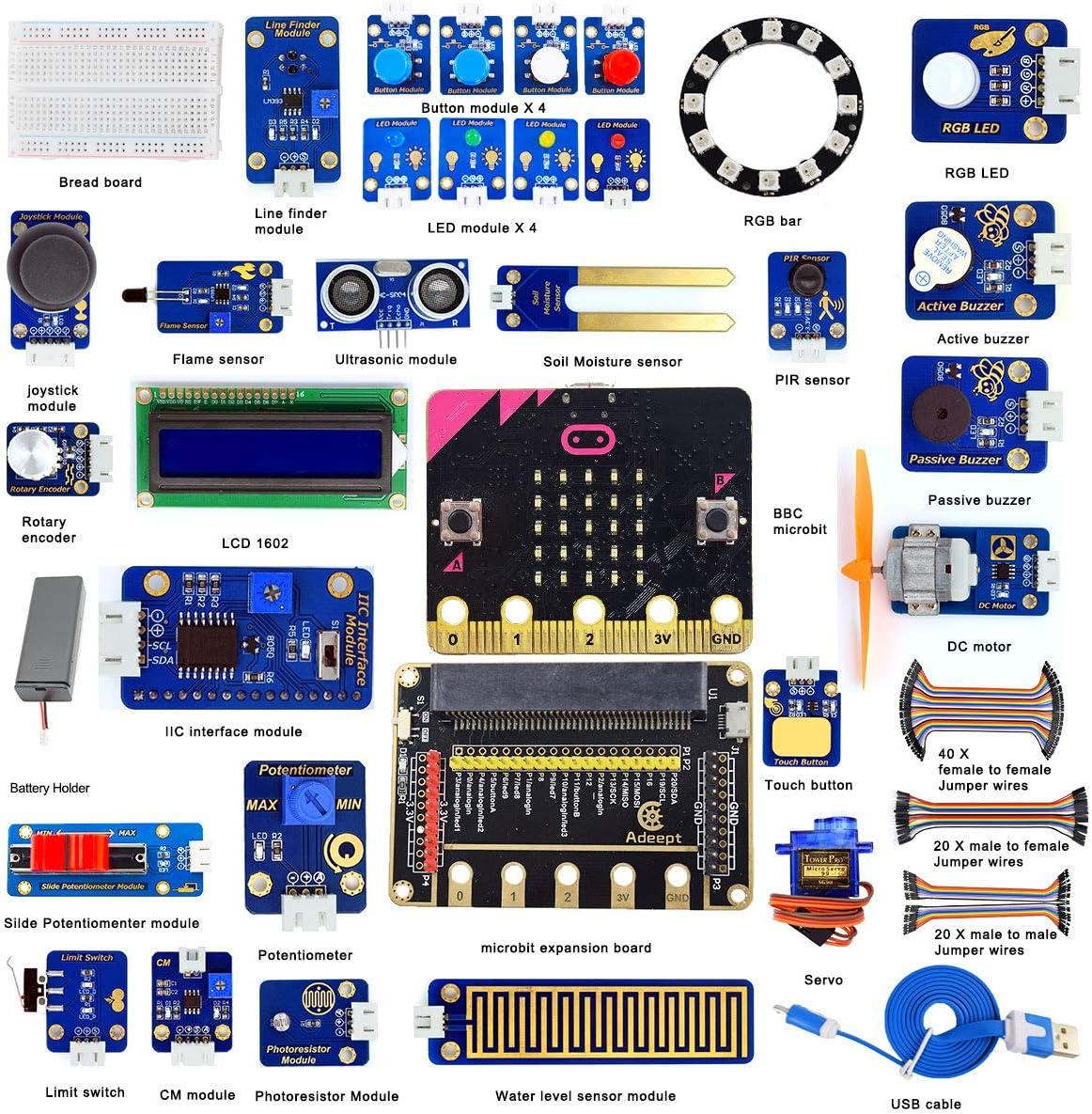 Adeept Bbc Micro:Bit Sensor Starter Kit | Microbit Programmable Starter Kit für Micro:Bit mit 35 Projects Pdf Tutorial Buch | Micro:Bit und Expansion Board Included