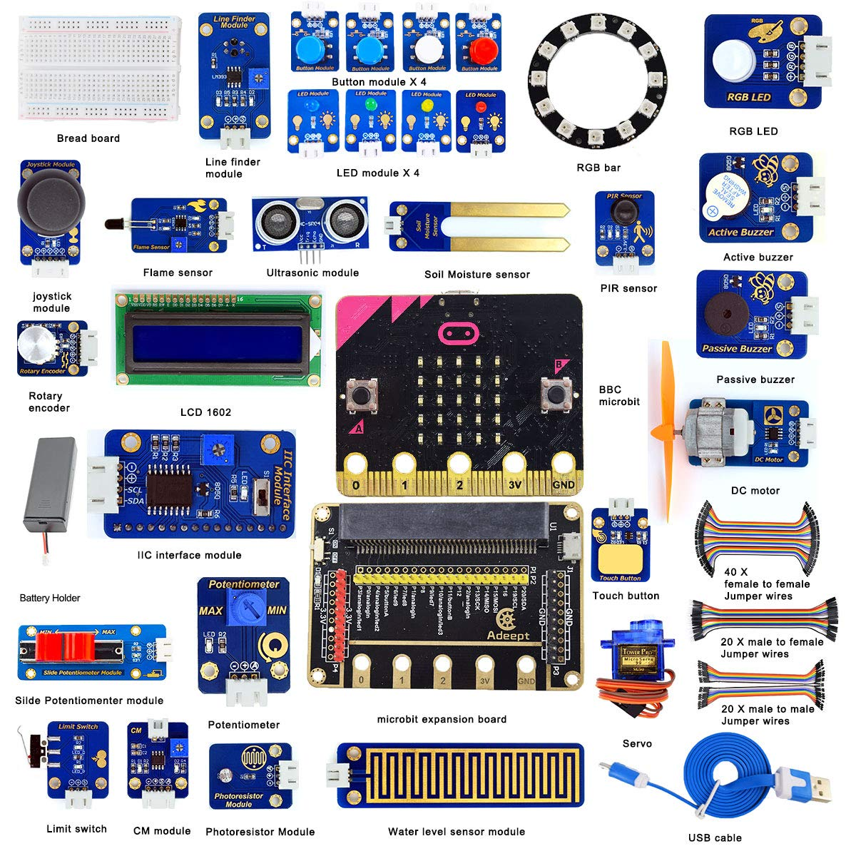 Adeept BBC Micro:bit Sensor Starter Kit Micro:bit and Expansion Board Included Microbit Programmable Starter Kit for Micro:bit with 35 Projects PDF Tutorial Book