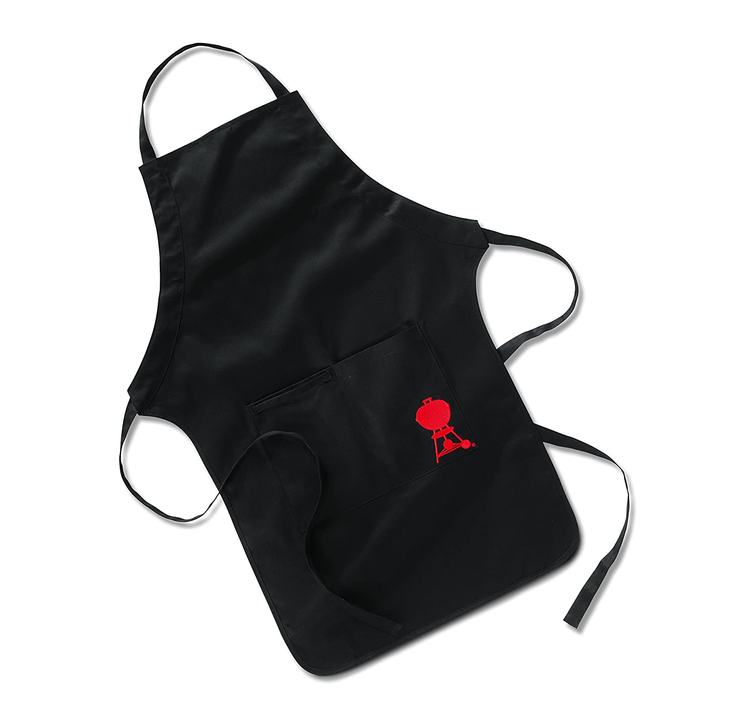 Weber Barbecue Apron with Embroidery 6533 Black Barbecue Aprons With Large Pockets for Utensils
