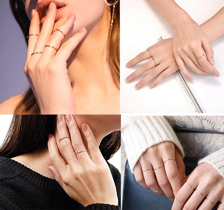 Milacolato 7 PCS 1MM en Acier Inoxydable Bande Darticulation Anneaux Empilables pour Femmes Filles Mode Midi Anneaux Confortable Taille 3-9