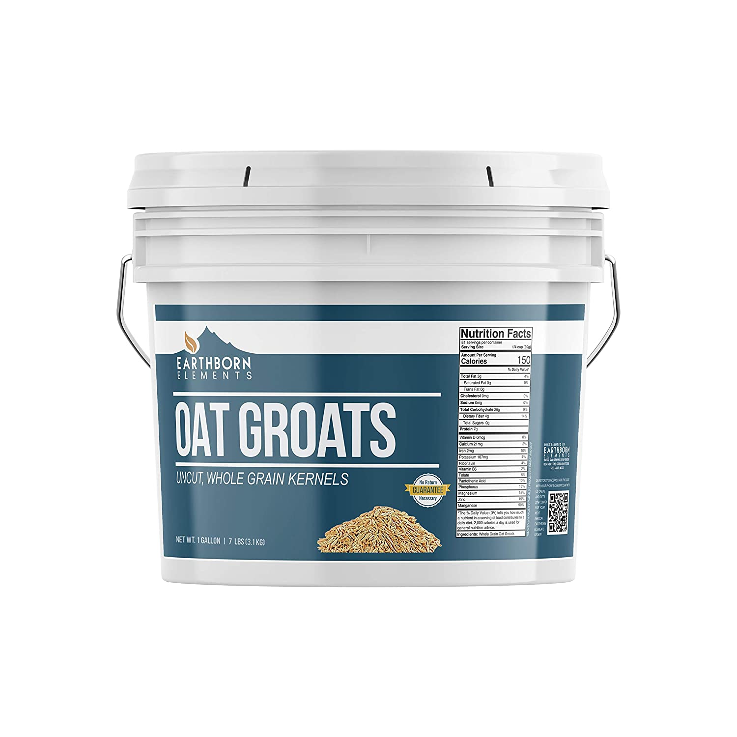 Oat Groats, 1 Gallon Bucket (7 LBS) by Earthborn Elements, High Quality & Uncut, Whole & Hulless Oat Kernels, Unprocessed & Untreated, High-in-Fiber, Resealable Bucket