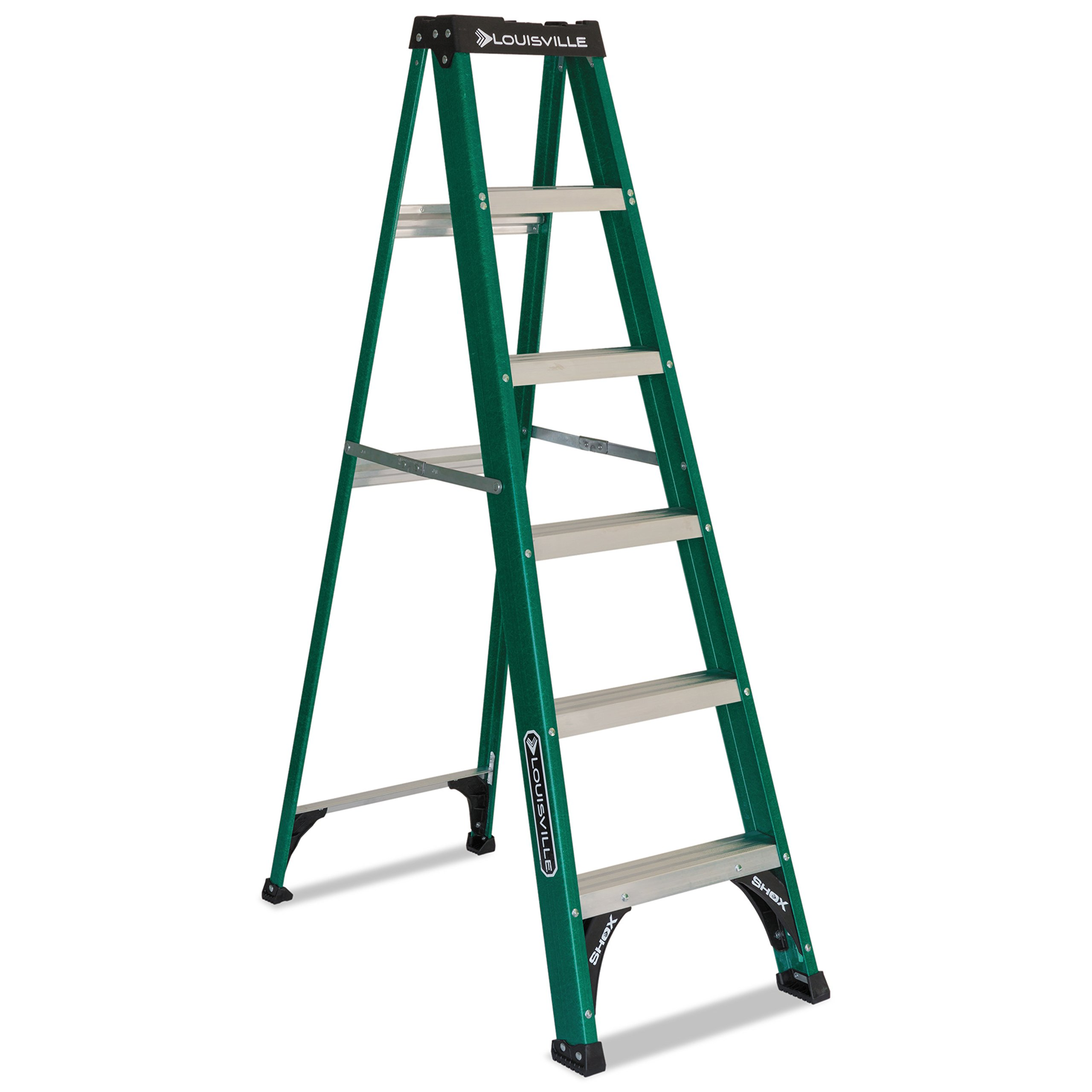 Multi Functional Fiberglass Green Folding Step Ladder with Multiple Tool Slots