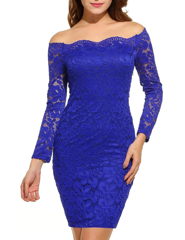 TALLA EU 40-42(talla productor M). Acevog Vestido Cocktail para mujer Azul EU 40-42(talla productor M)