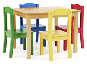 Tot Tutors TC715 Primary Collection Kids Wood Table & 4 Chair Set, Natural/Primary