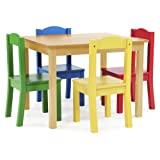 tot tutors kids wood table and 4 chairs set primary collection