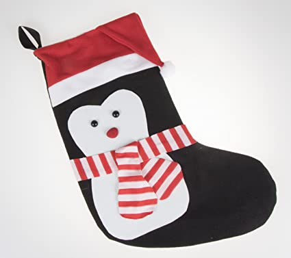 penguin soft plush cloth hanging christmas stocking for kids teens and adults