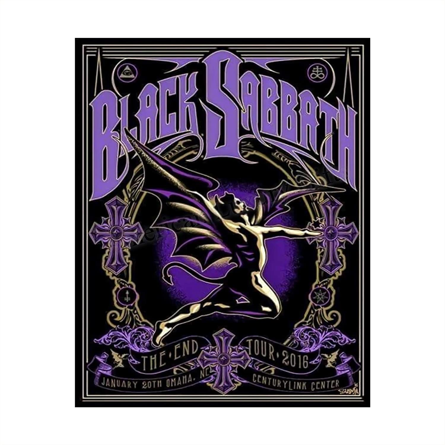 """Black Sabbath Classic Logo Poster Print-8 x 10"""" Rock Band Wall Art-Ready to Frame. Vintage Home-Studio-Bar-Cave Decor. Great Gift for Heavy Metal Music Lovers! Perfect for Ozzy-Black Sabbath Fans!"""