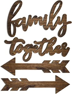 4 Pieces Rustic Family Decorative Signs Family Wall Decor Rustic Wood Signs Wooden Arrow Hanging Signs Wall Decor Farmhouse Family Entryway Sign for Home Bedroom Living Room