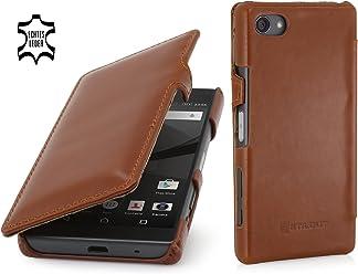 StilGut Book Type Case con Clip, Custodia in Vera Pelle a Libro per Sony Xperia Z5 Compact, Cognac