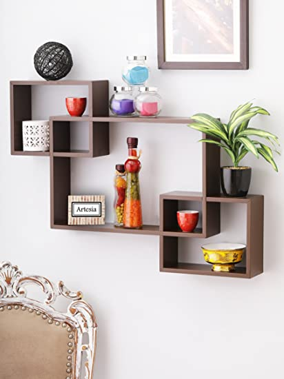 80cafcdd055 Artesia Wooden Brown Wall Shelf Rack Set of 3 Intersecting Wall Shelves   Amazon.in  Home   Kitchen