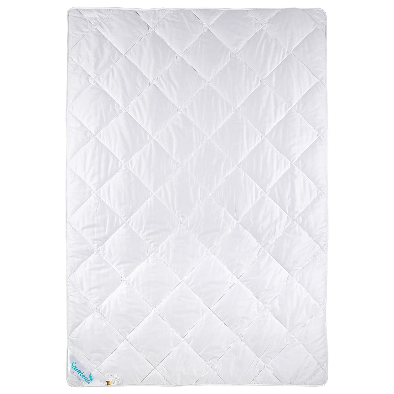 """Samtena® Comfort 100 Kamelhaardecke """"Warm  mit 100% Kamelhaarflaum für ein besonderes Schlafklima und feinem 100% Mako Satin Baumwollbezug, für Hausstauballergiker geeignet, 155x220cm, weiß"""