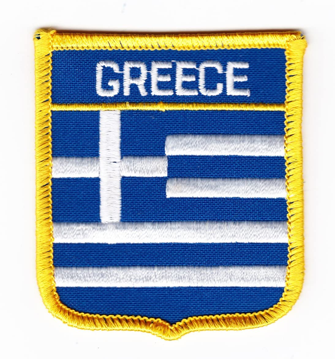 GREECE LITTLE BOY COUNTRY FLAG IRON-ON PATCH CREST BADGE SIZE 3 X 2 INCH