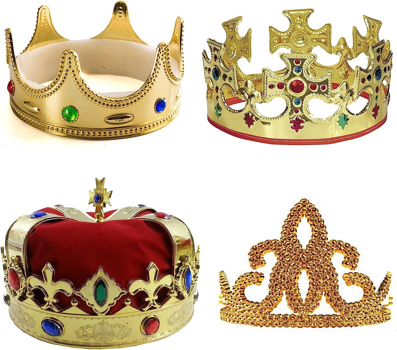 Tigerdoe Kings Crown - 4 Pack - Royal King Crowns and Princess Tiara - Costume Accessories
