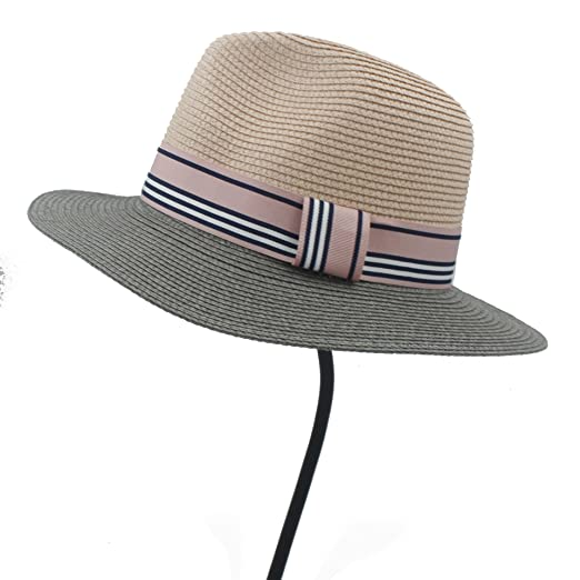 34dc5f4a166 Women Summer straw Sun hat Boho Beach wide Brim Fedora hat Sunhat Trilby  panama Hat Gangster sombrero Cap 21 at Amazon Women s Clothing store