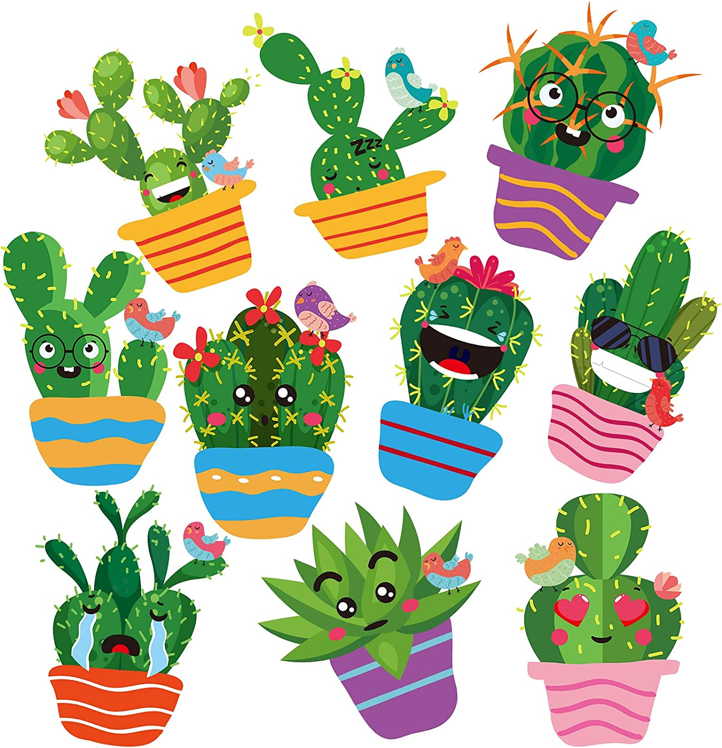 50 Pieces Cactus Cutouts Cactus Theme Bulletin Board Decoration Prickly Cactus Party Cutout Green Cactus Paper-Cut with Glue Point Dot for Fiesta Classroom Bulletin Board Wall Holiday Party Decoration