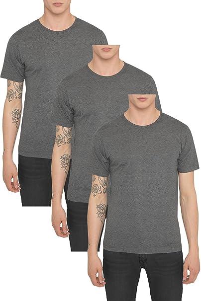 Pack 3 Camisetas Basicas para Hombre, Camiseta Lisa Negra, Gris Blanca Casual Deluxe Deportiva
