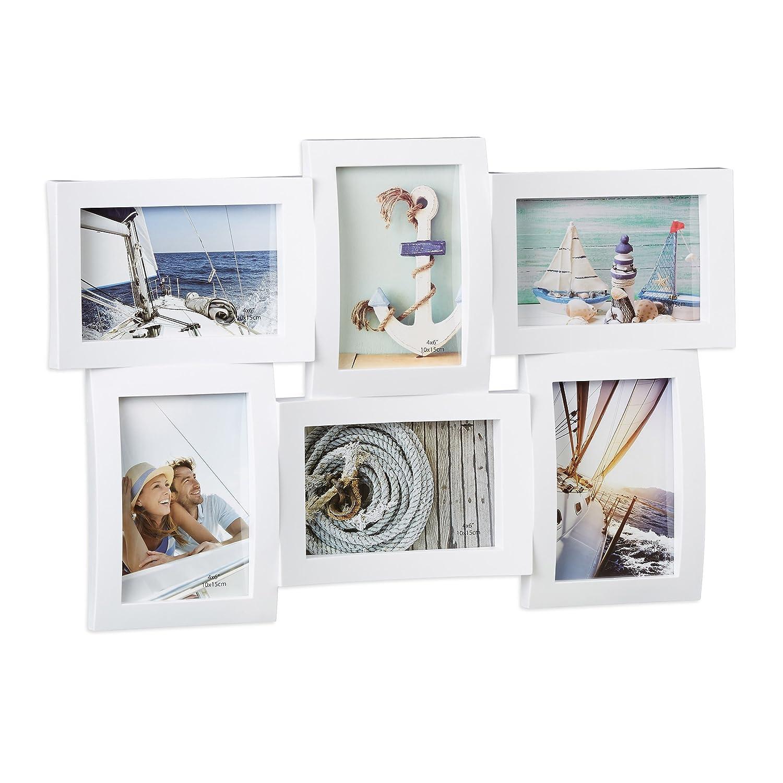 Amazon.de: Relaxdays Bilderrahmen für Mehrere Fotos, Collage für 6 ...