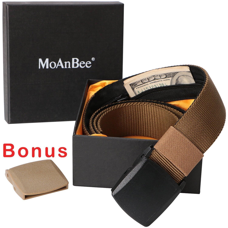 Travel Money Security Pocket Belt Hidden Money Pouch Belt Cash safe Anti-theft Wallet Belt Khaki Plastic Buckle Belt Fits up to 42 Inch Waist Size by MoAnBee