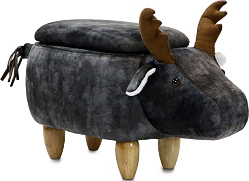 Critter Sitters Dark 15″ Seat Height Animal Storage Gray Elk-Faux Leather Look-Durable Legs-Furniture