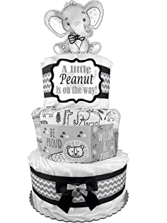 Pink and Gray Elephants Theme with White Diaper Cake Bassinet//Carriage