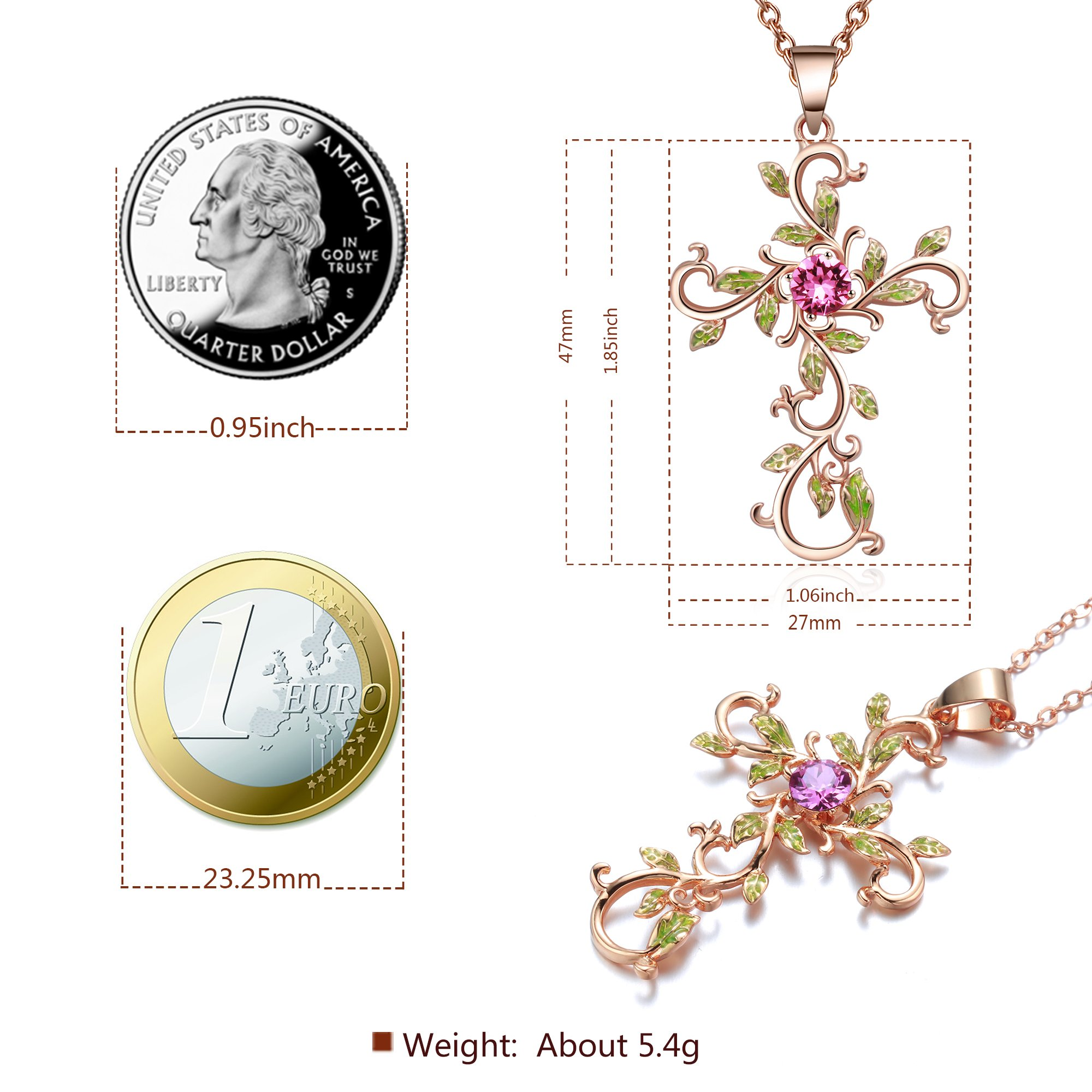 Angelady God We Trust Cross Pendant Necklace for Women Gifts,14K Gold Plated Chain Necklace, Pink Crystal from Swarovski