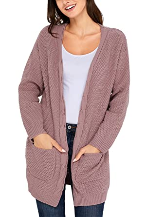 d2ad23f75d19 Amazon.com: Dokotoo Womens Casual Cozy Long Sleeve Fall Open Front Chunky  Knit Sweater Long Cardigan Pullover Coat with Pocket for Work Pink Medium:  ...