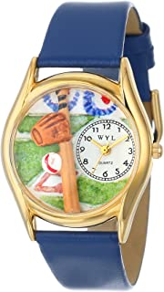 product image for Whimsical Watches Kids' C0820004 Classic Gold Baseball Royal Blue Leather And Goldtone Watch