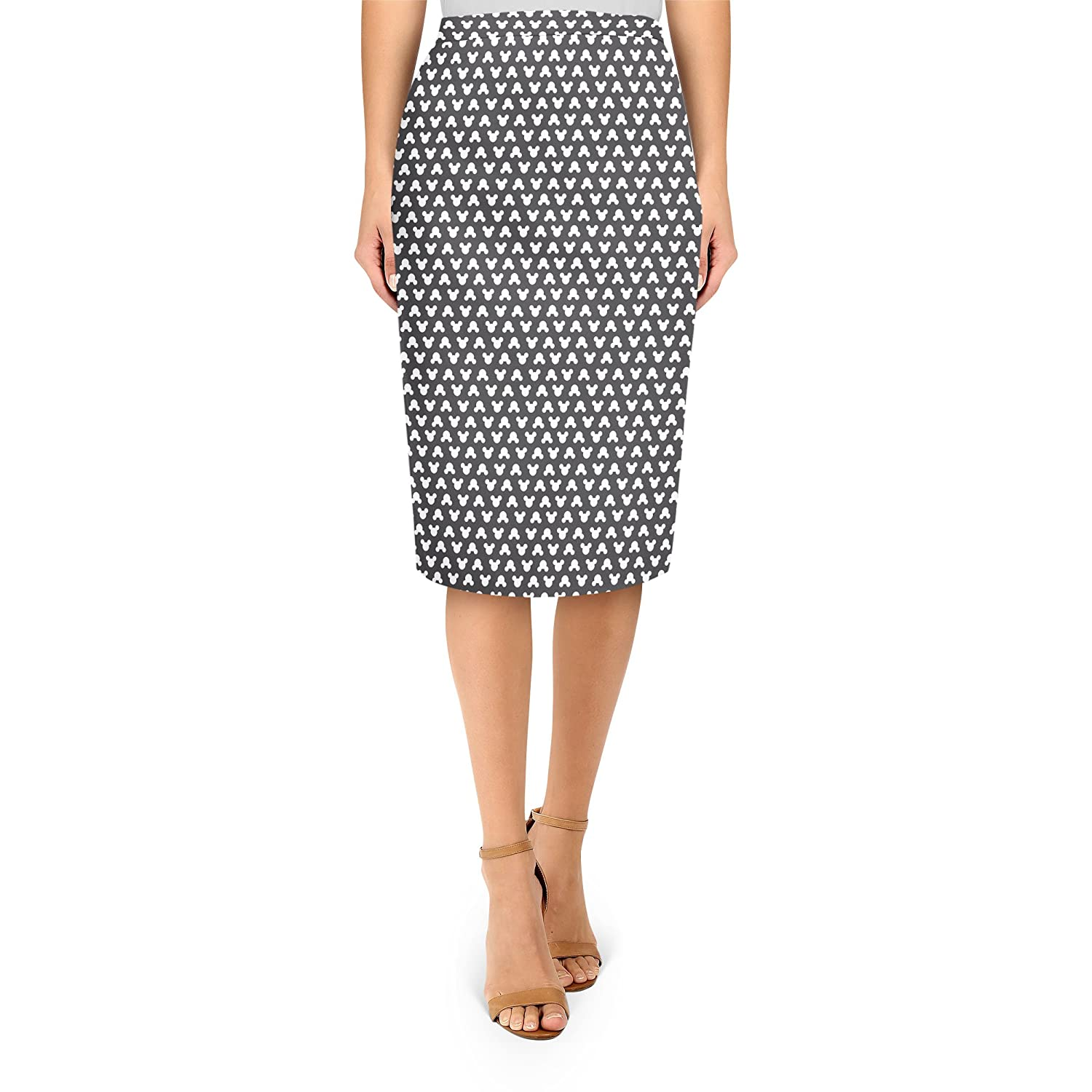 Mickey Polka Dots Black Midi Pencil Skirt