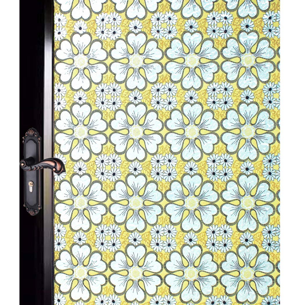 DuoFire Decorative Film Privacy Window Film Stained Glass Film Yellow Flowers Pattern No Glue Anti-UV Removable Window Cling Non-Adhesive Window Privacy Film D95062, (35.4in. x 78.7in.) 90cm x 200cm