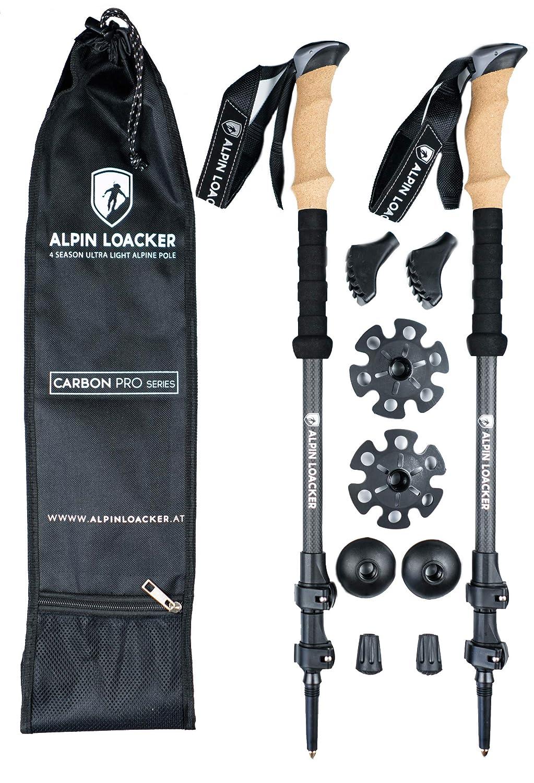 Alpin Loacker PRO Series Wanderstöcke | verstellbare Falt/Teleskop Stöcke mit Korkgriff inkl. Zubehör | aus stabilem, bruchfestem Carbon Material