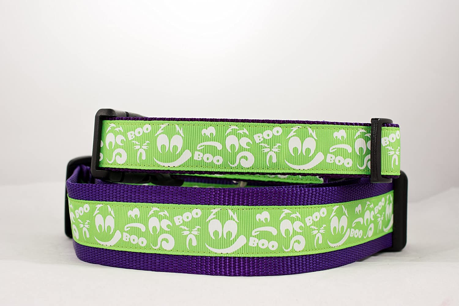 Green Glow in the Dark Halloween Ghost Dog Collar 1
