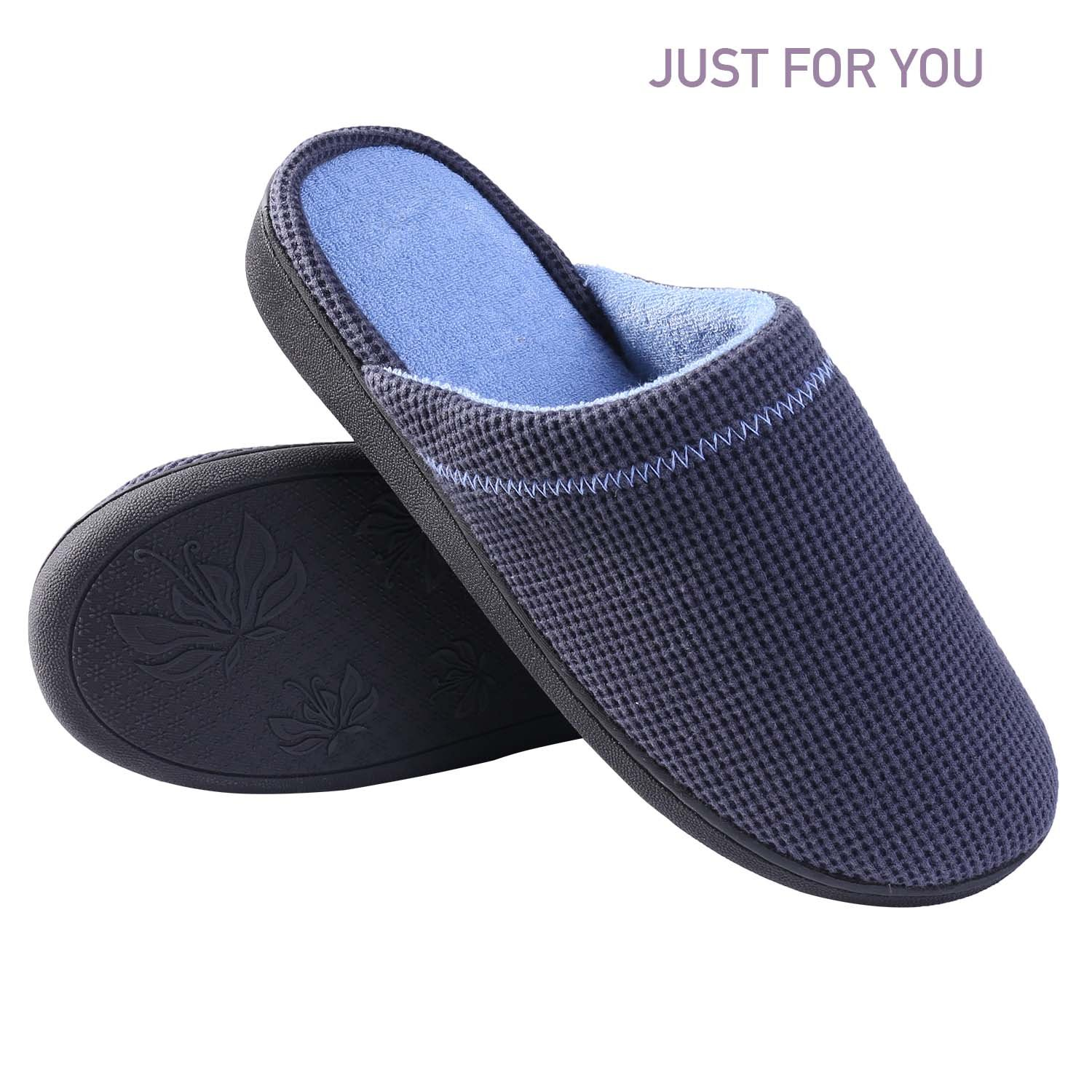 BESIDE STAR Womens Mens House Slippers, Indoor Slippers, Winter Warm Slippers, Comfort Plush Cotton Slippers(US 7-7.5/Asia 40-41 Navy)