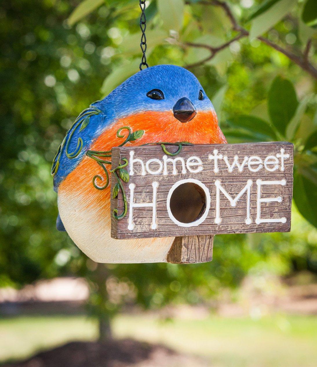 Polystone and Plastic Portly Birdhouse Blue Bird,Home Tweet Home