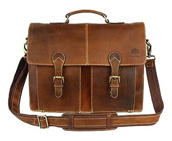 aa8c2a639e Amazon.com  Leather Shoulder-Briefcase Messenger Bag Mens Handmade 16 inch  Laptop-Satchel  RusticTown
