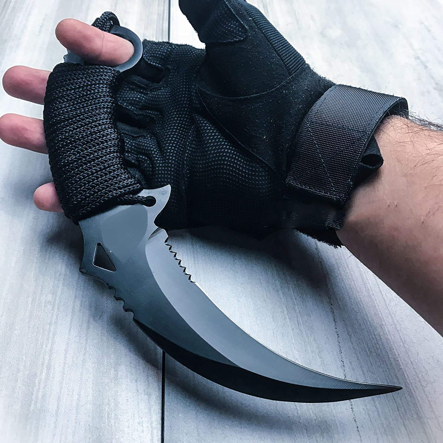 """KCHEX 10"""" Tactical Combat KARAMBIT Knife Survival Hunting Bowie Fixed Blade"""