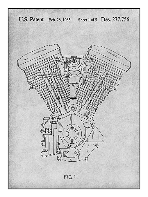 Harley Davidson Motorcycle Evolution Engine Patent Print Art Poster 18 X 24