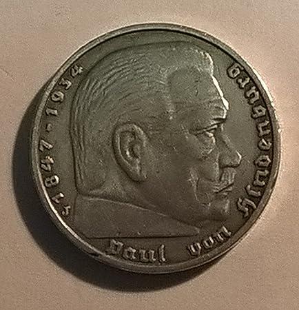 5 Reichsmark Paul Von Hindenburg Drittes Reich 1936 J Silber 900