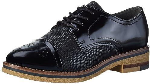 23711, Zapatos de Cordones Derby para Mujer, Negro, 39 EU Marco Tozzi