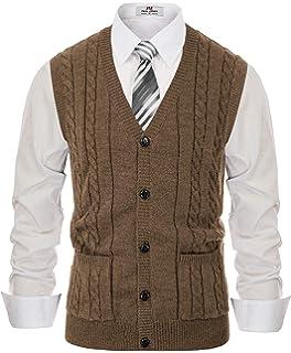 PJ PAUL JONES Men V Neck Cardigan Sweater Vest Wood Horn