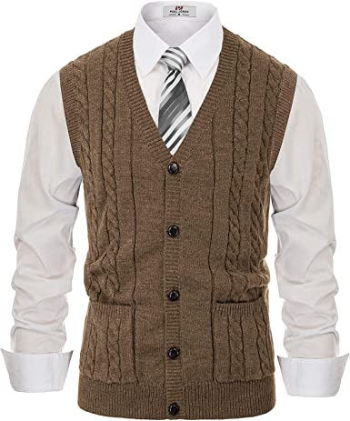 PJ PAUL JONES Men V Neck Cardigan Sweater Vest Wood Horn Toggle Buttons Cable Knitwear