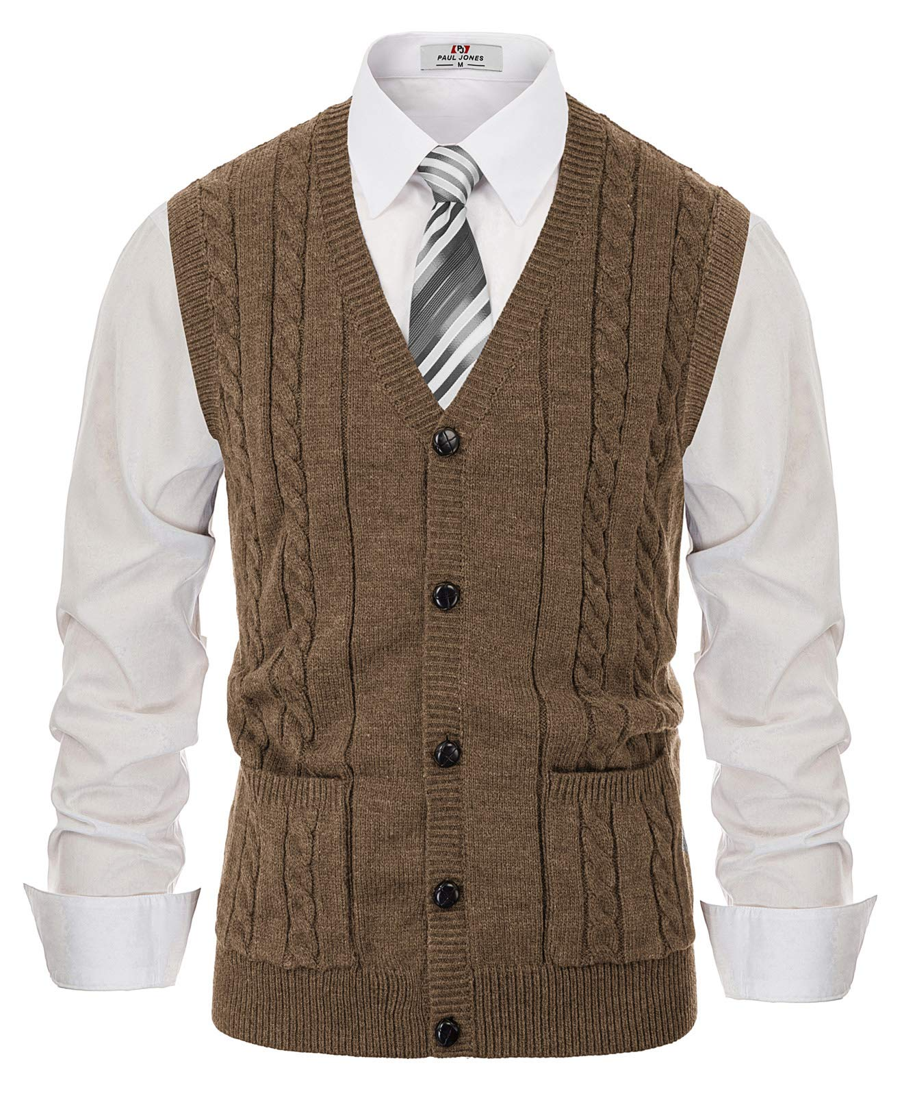 PJ PAUL JONES Men V Neck Sweater Vest Knitwear Sleeveless Cable Cardigan Sweater Coffee, M by PJ PAUL JONES