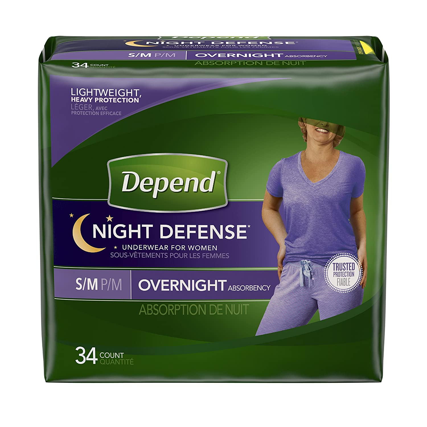 Depend Night Defense Incontinence Overnight Underwear for Women, S/M, Packaging May Vary