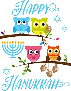 """Deluxe Garden Yard Flag by Fantastic Flag – Cute Happy Hanukkah Owl Flag, 12"""" x 18"""" – UV Fade Water Resistant Decorative Flag for Front Porch Mailbox"""