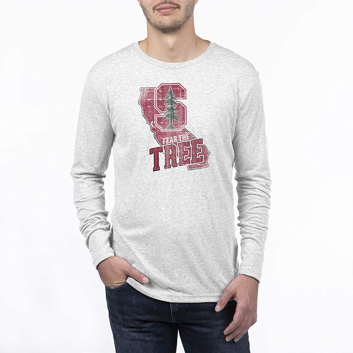 Top of the World NCAA Mens Modern Fit Premium Tri-Blend Long Sleeve Team Color Distressed State Icon Tee