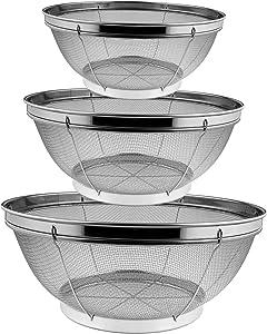 Lake Tian Stainless Steel Colander Metal Mesh Colander Strainer Basket, Colinder Kitchen Straining, Draining, Salad, Spaghetti and Noodles (3 pcs set 19cm, 25cm, 31cm)