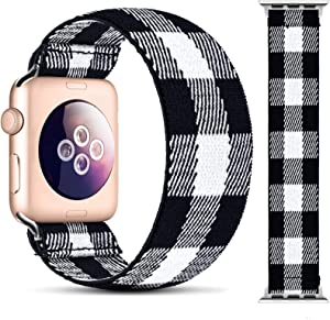 OHOTLOVE Elastic Watch Band Compatible with Apple Watch Elastics Band 38mm 42mm 40mm 44mm for Women Men, Pattern Soft Stretch Bracelet Replacement Wristbands for Women with iwatch Series 6/5/4/3/2/1